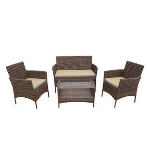 Roatan 4 Piece Rattan Sofa Set with Cushions