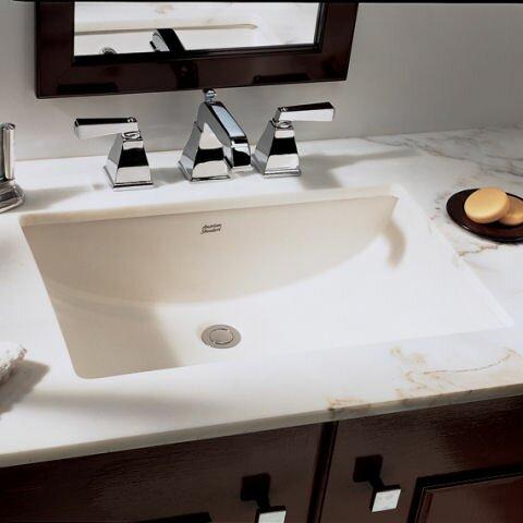 Studio Ceramic Rectangular Undermount Bathroom Sink With Overflow