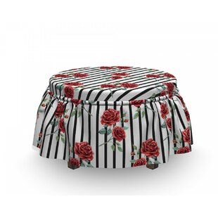 Valentines Day Rose 2 Piece Box Cushion Ottoman Slipcover Set By East Urban Home