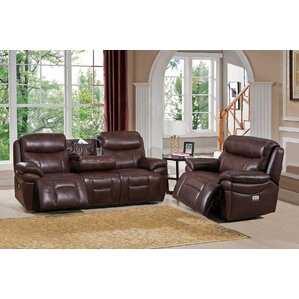Amax Sanford 2 Piece Leather Living Room Set
