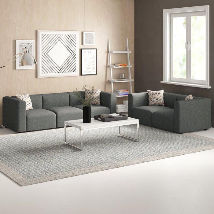 Nash 2 Piece Modular Living Room Sofa Set