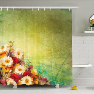 Compare Watercolor Flower Home Romantic Bouquet Rose Chamomile Grunge Pastoral Scene Print Shower Curtain Set By Ambesonne