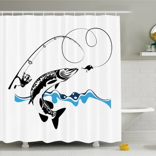Pike Fish Catching Wobblers Reel Trap in River Raptorial Predator Print Shower Curtain Set