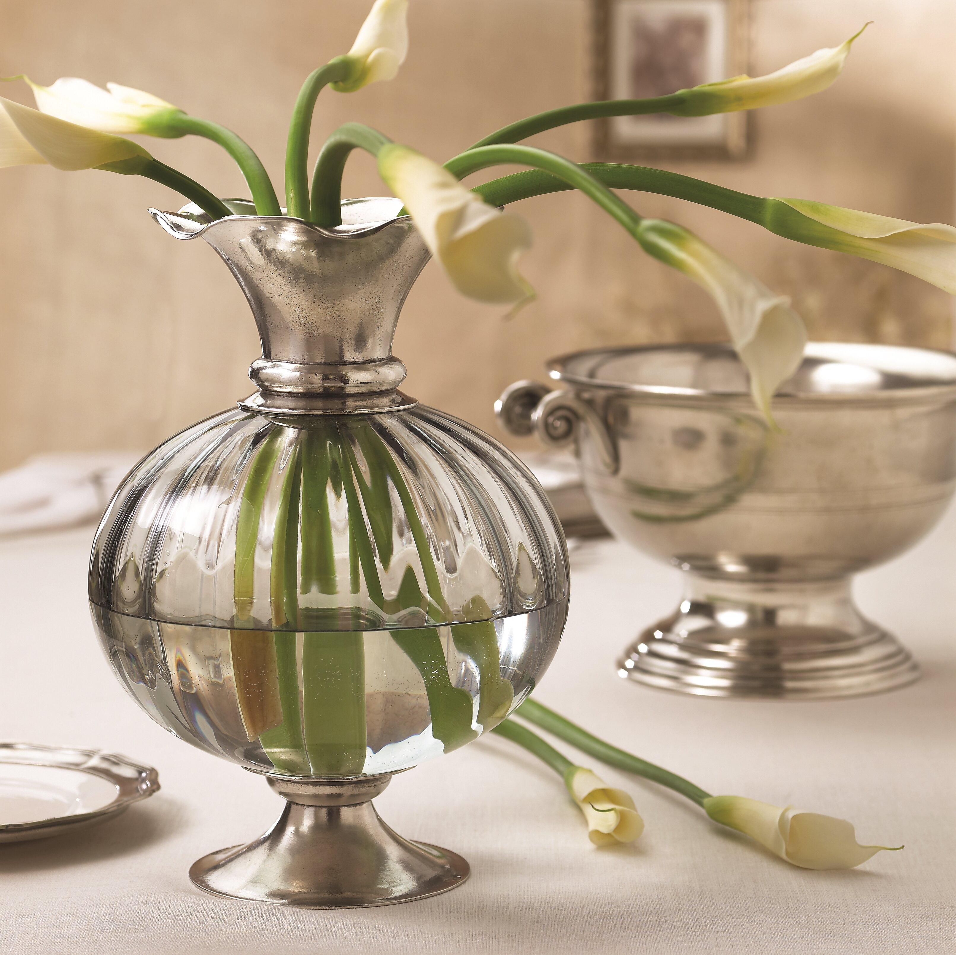 Arte Italica Giovanna Clear 15 5 Metal Table Vase Wayfair