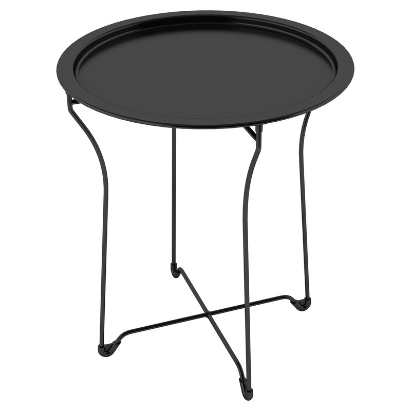 Sims Tray Table - Black, Round, Modern side table #modern #roundtable #nightstand #black