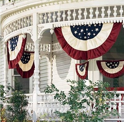 Plow Hearth Half Round Cotton Duck Patriotic Vintage Bunting Pleated Flag Reviews Wayfair