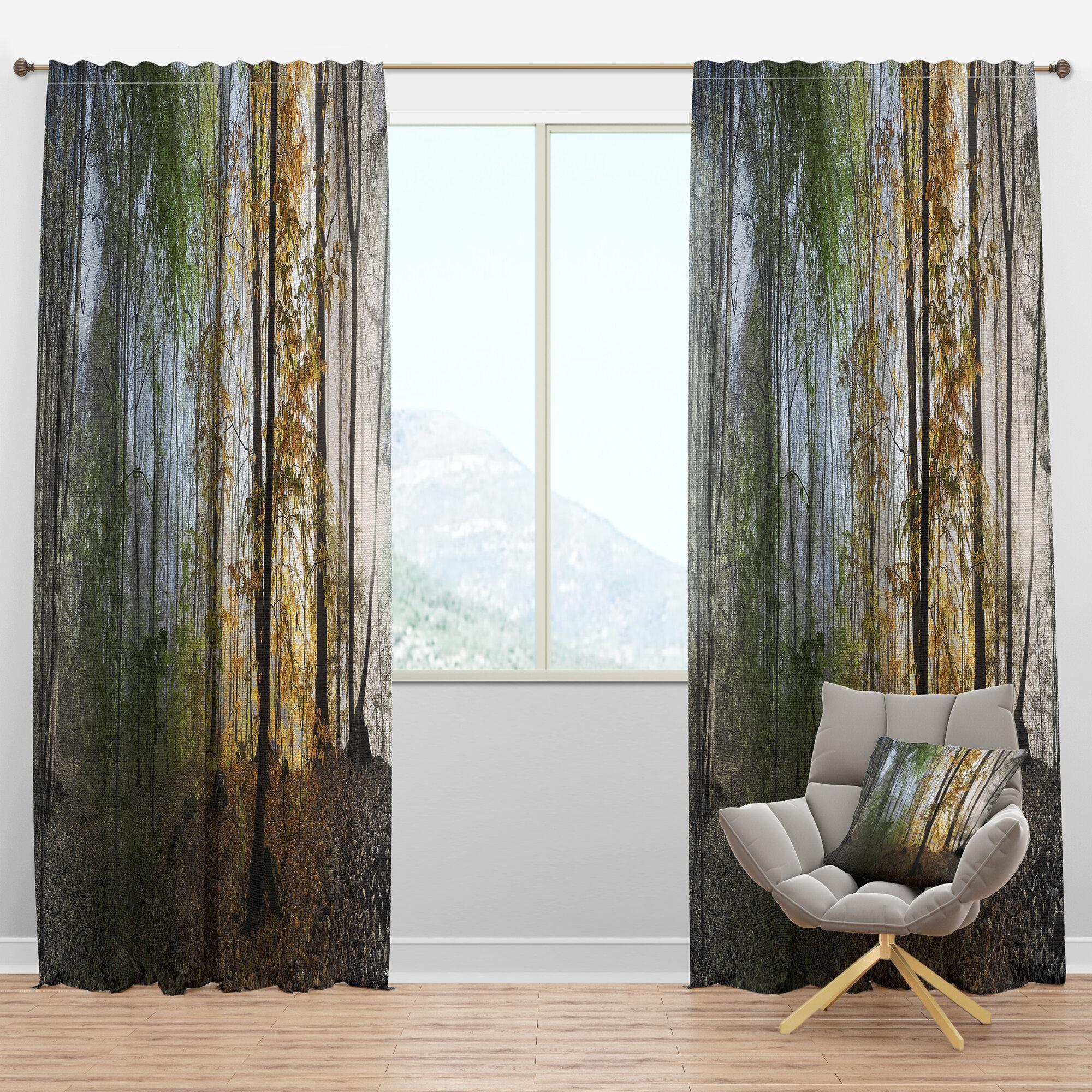 Designart Landscape Morning Forest Panoramic View Semi Sheer Thermal Rod Pocket Curtain Panels Wayfair