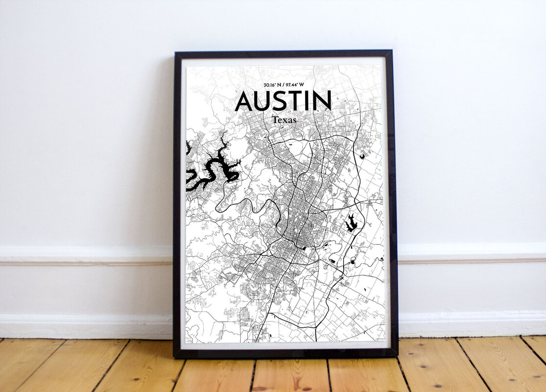 Williston Forge \'Austin City Map\' Graphic Art Print Poster in Ink ...
