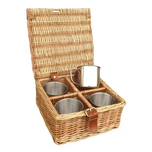 4 Mug Tea Coffee Drink Picnic Basket By Brambly Cottage
