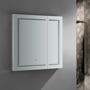 Spazio 36 x 36 Recessed or Surface Mount Frameless Medicine Cabinet with LED Lighting and Defogger Fresca