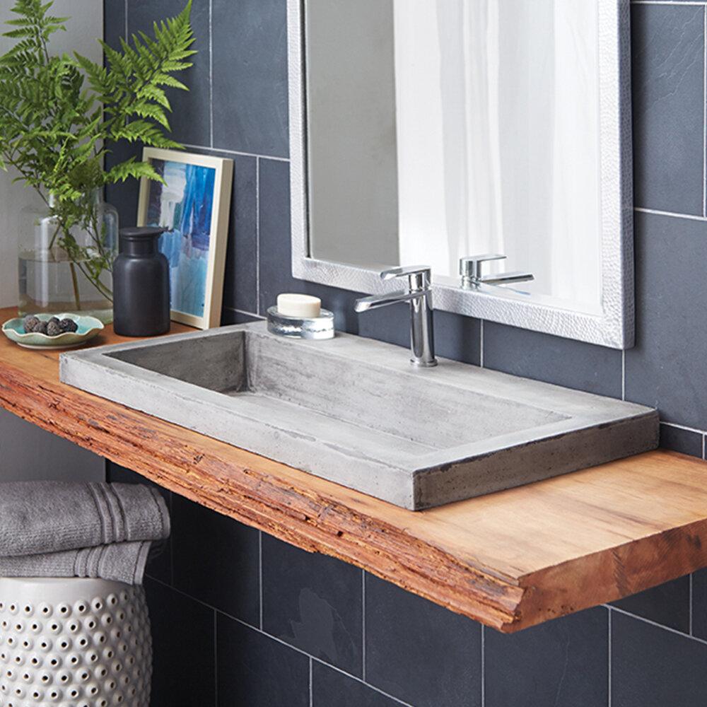 Native Trails Trough Stone Rectangular Drop-In Bathroom Sink & Reviews   Wayfair