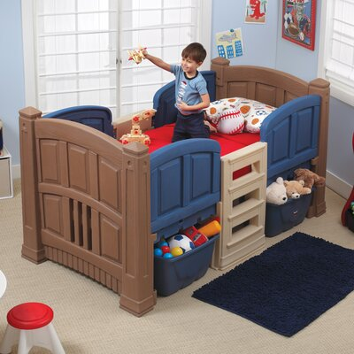 Twin Low Loft Bed With Storage Step2 Color Brownblue