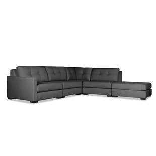 Secrest Buttoned L-Shape Modular Sectional with Ottoman