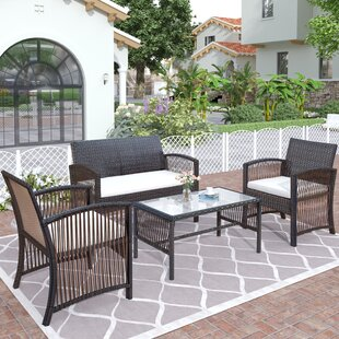 4 Pieces Outdoor Furniture Rattan Chair & Table Patio Set Outdoor Sofa For Garden, Backyard, Porch And Poolside, Gray (Set of 4)