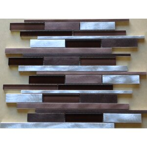 Urban Random Sized Aluminum and Glass Metal Look Tile in Glossy Gray/Brown