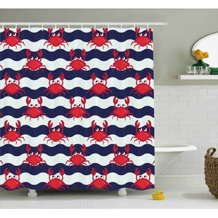 Duanesburg Crabs Nautical Theme Cute Crabs on The Striped Background Illustration Print Single Shower Curtain