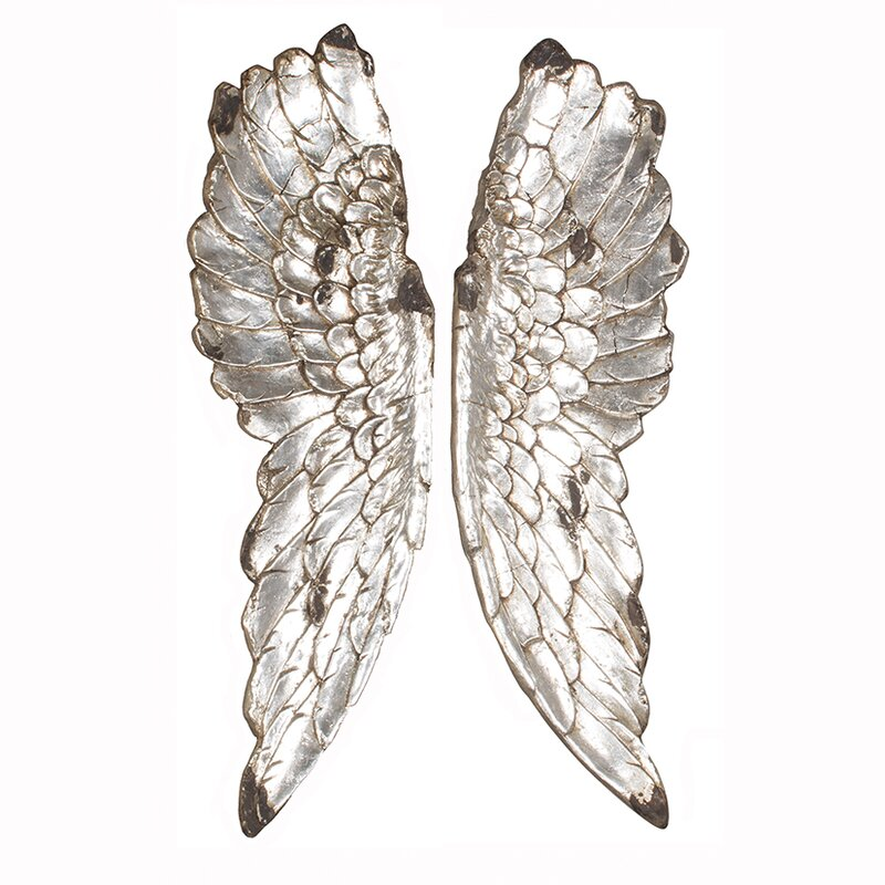 Exceptionnel Poly Resin Angel Wings Wall Décor
