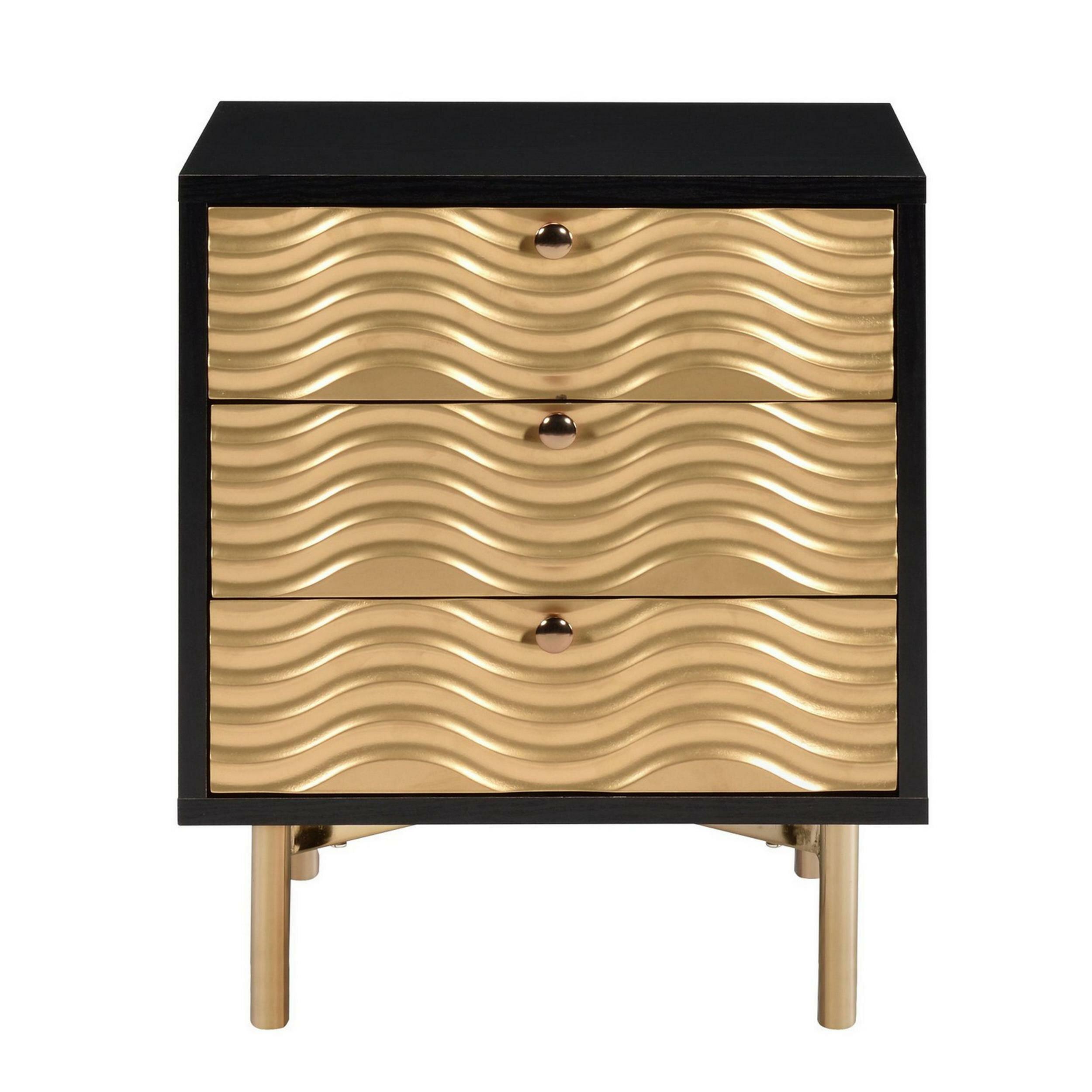 Everly Quinn Sebastian 3 Drawer Nightstand In Black Gold Wayfair