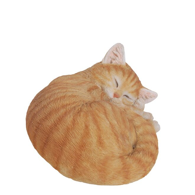 Life Like Statue Home Sleeping Orange Tabby Cat Figurine Adorable Garden NEW