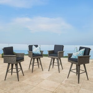 Ballew Wicker Barstool (Set of 4) by Wade Logan