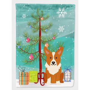 Merry Christmas Tree Corgi 2-Sided Garden Flag