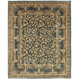 Low priced One-of-a-Kind Hudson Oaks Hand-Knotted 8' x 9'10 Wool Dark Gray/Beige Area Rug By Isabelline