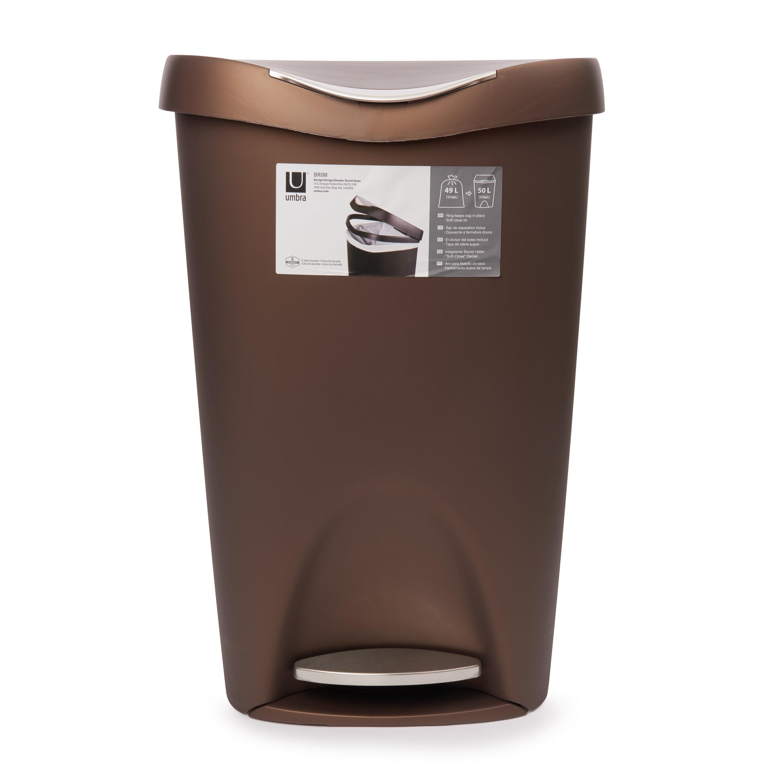 Kitchen Trash Step Can Waste Basket Garbage Disposal Bin Stainless Steel 13 Gal.