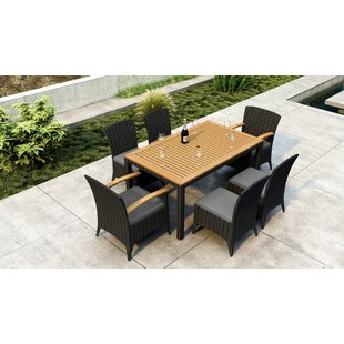 Brayden Studio Aisha 7 Piece Dining Set with Sunbrella Cushion
