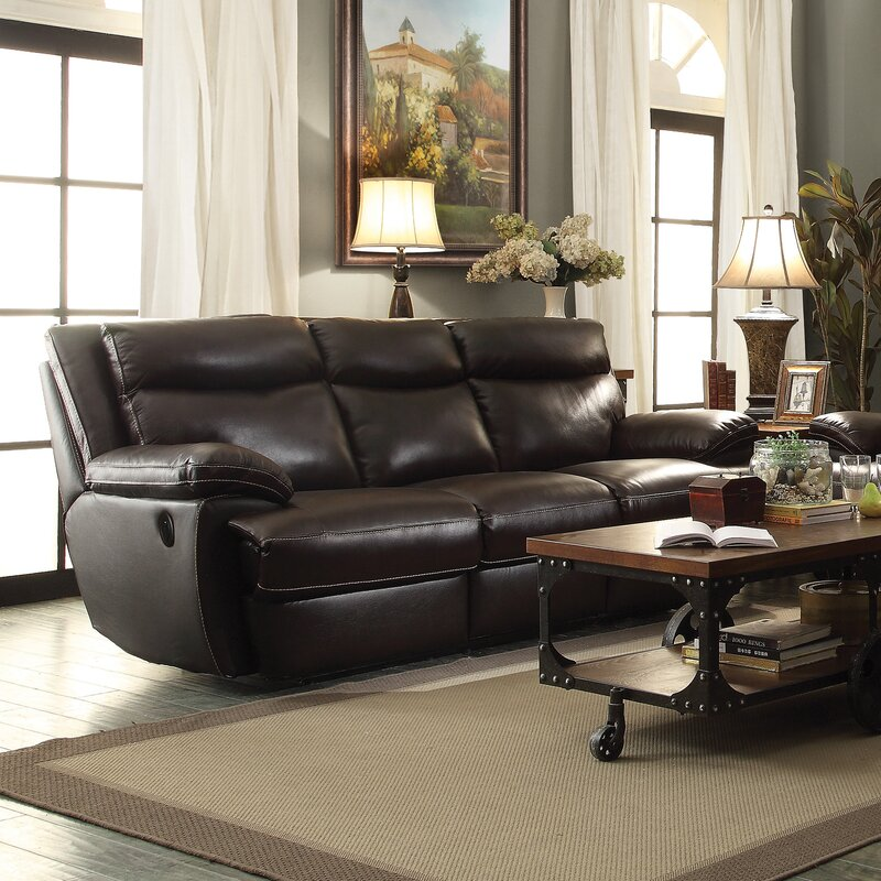 Hughes Leather Reclining Sofa & Red Barrel Studio Hughes Leather Reclining Sofa u0026 Reviews | Wayfair islam-shia.org
