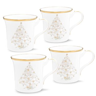 Palace Christmas Gold Mug Bone China Teacup (Set of 4)