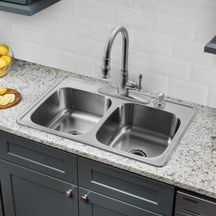 drop in kitchen sink hole quickview stainless kitchen sink drop in wayfair