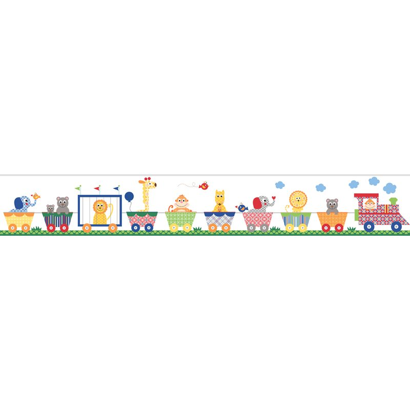 "Peek-A-Boo 15' x 5"" Circus Train Border Wallpaper"