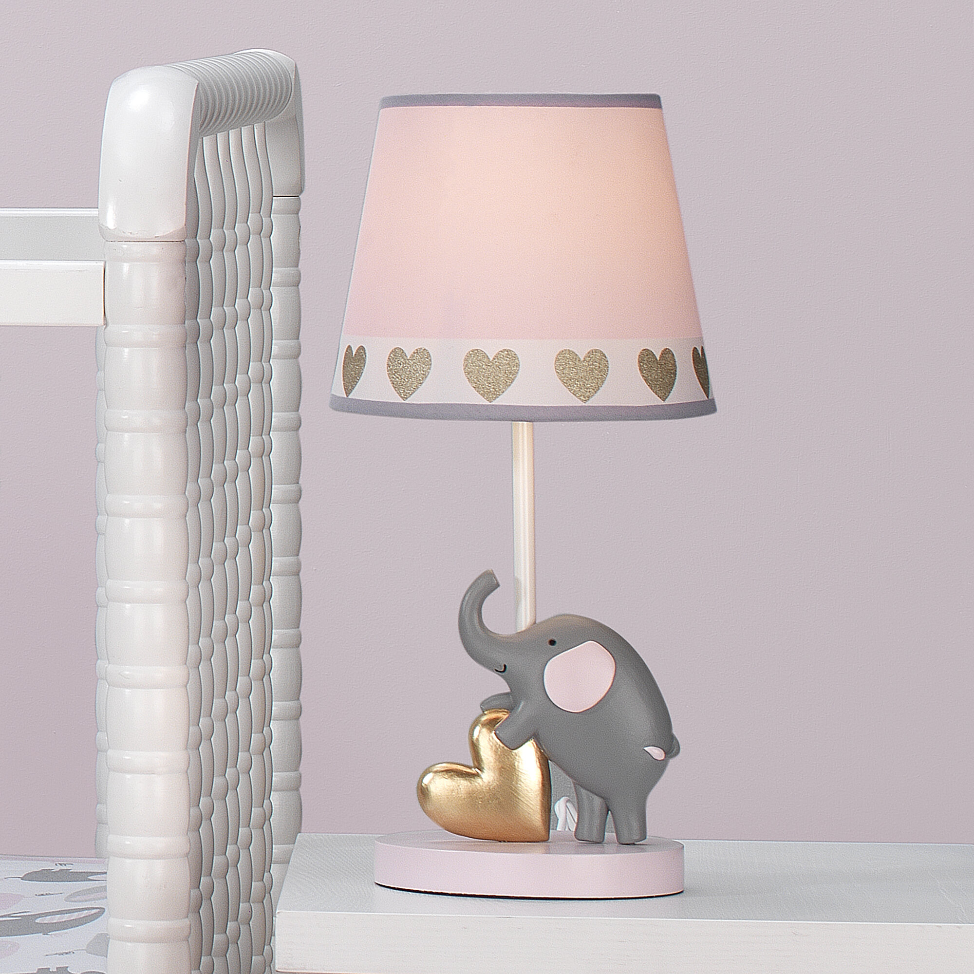 Gold Bedtime Originals Rainbow Unicorn Lamp with Shade /& Bulb Pink White