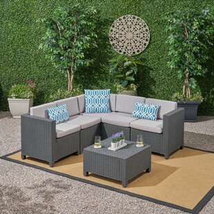 Dudek Outdoor 6 Piece Sectional Seating Group with Cushions