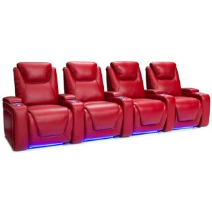 Latitude Run Leather Home Theater Row Seating (Row of 4)