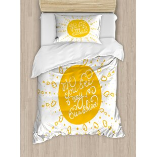 Quotes Rounded Sun Figure Rough Heart Shaped Beams Philosophy Textured Illustration Image Duvet Set by Ambesonne