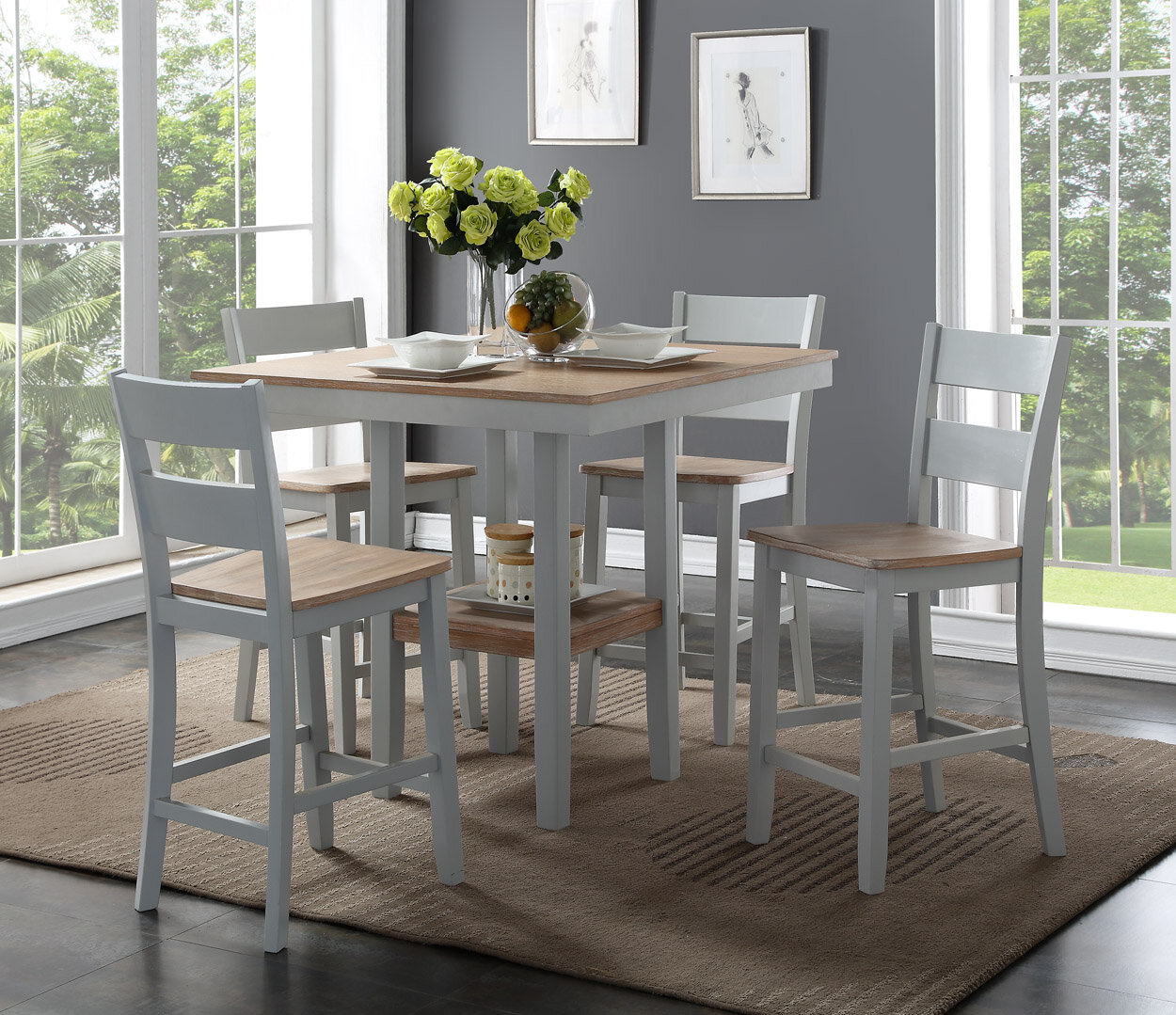 August Grove® Liesel Counter 5 Piece Breakfast Nook Solid Wood