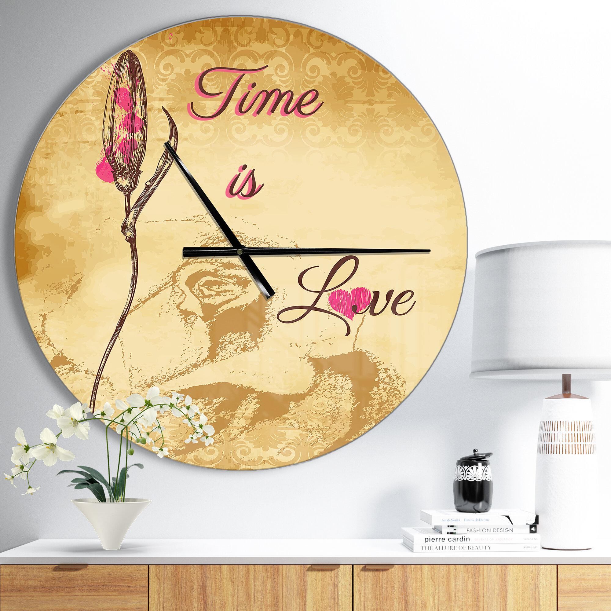 East Urban Home Designart Time is Love Vintage Flower Wall Clock ...