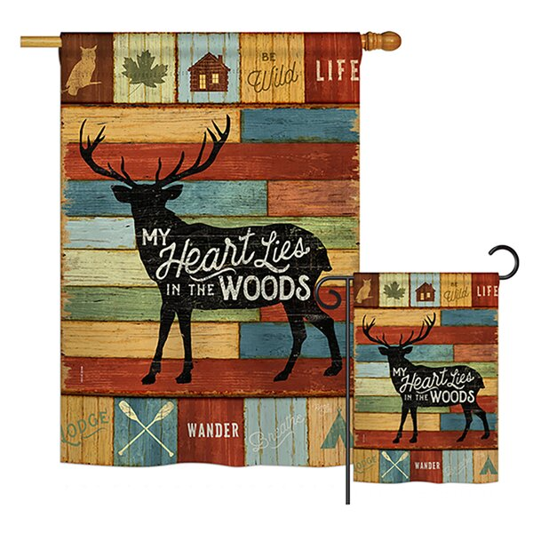 Breeze Decor My Heart Lies In The Woods Nature Outdoor Impressions Vertical House 2 Sided Polyester 40 X 28 In Flag Set Wayfair