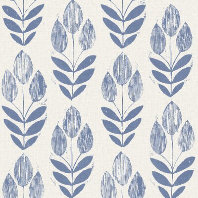 Brayden Studio Ladwig Scandinavian 33' x 20.5 Block Tulip Floral Wallpaper Roll Color: Blue