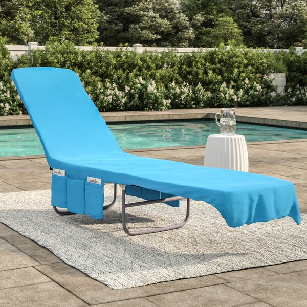 2 in 1 Terry Cloth Chaise Pool Lounge Cover Beach Towel and Tote with  Pockets