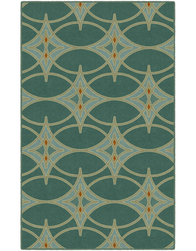 Wrought Studio Cosmo Trellis Green Area Rug, Size: Rectangle 76 x 10