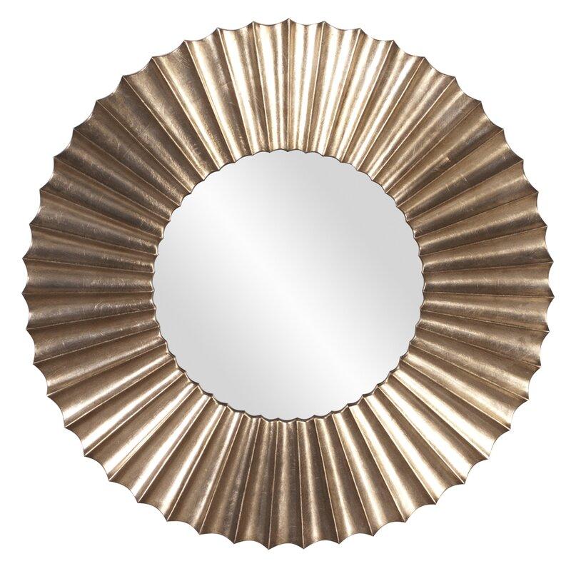 Miroir Rond En Résine Argentée