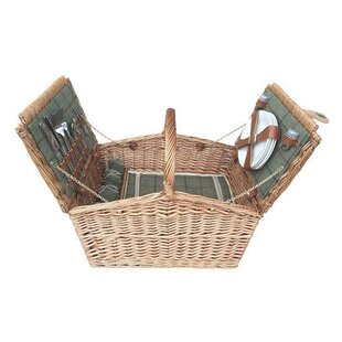 Double Lidded 4 Person Fitted Picnic Basket By Alpen Home