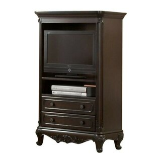 Zayne Traditional Style Wooden Armoire with TV Unit and Two Drawers, White