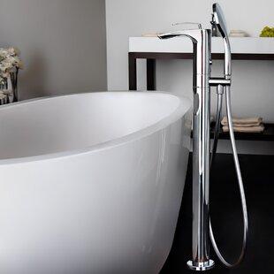 Bollicine Single Handle Floor Mount Bath Faucet with Hand Shower By Aquatica