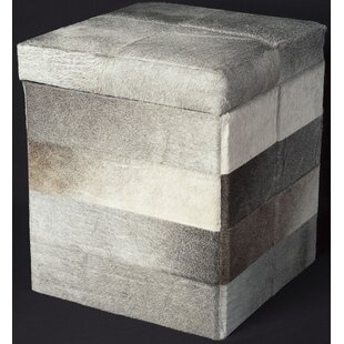 Leather Cube Ottoman by Trent Austin Design