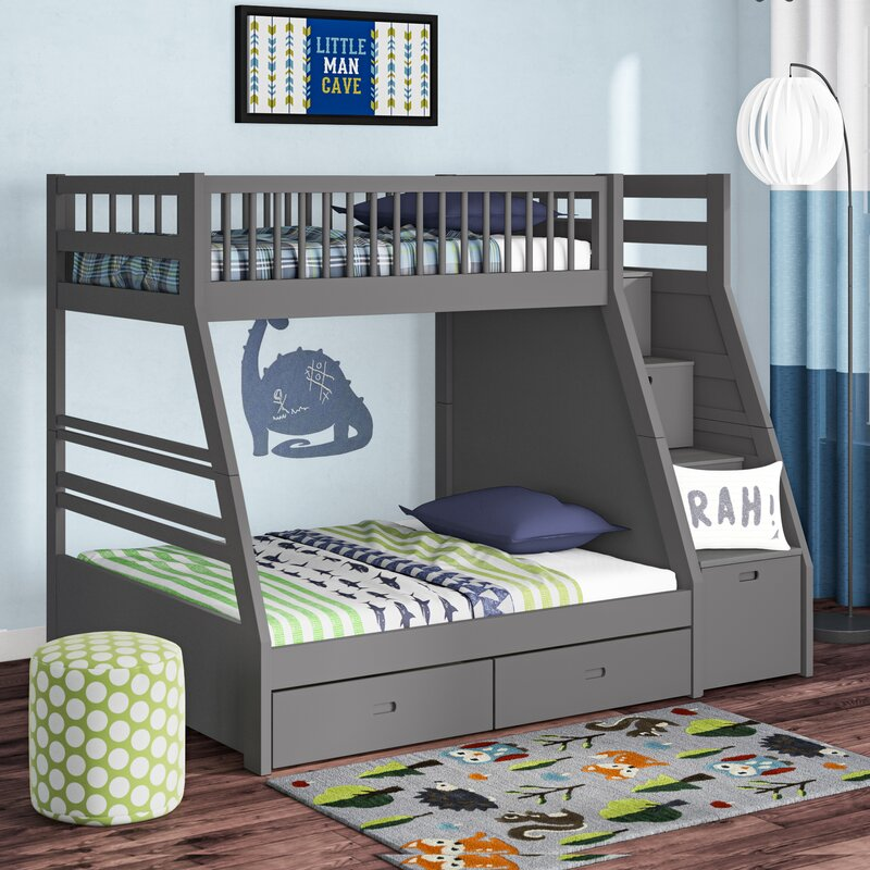 Harriet Bee Mimi Twin Over Full Bunk Bed With Drawers Reviews Wayfair