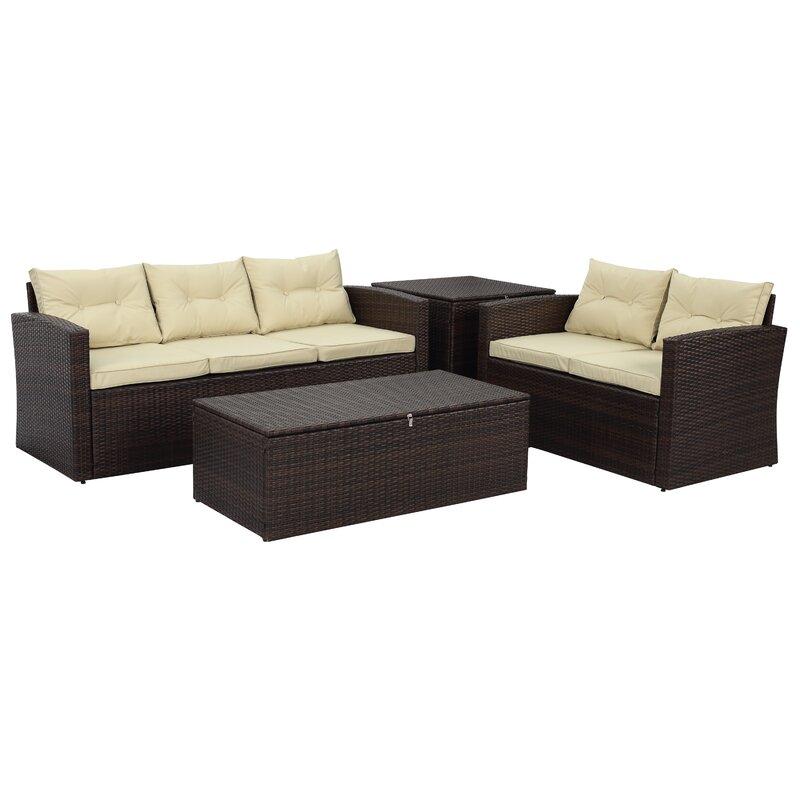 Arlington 4 Piece Rattan Sofa Seating Group with Cushions & Reviews ...