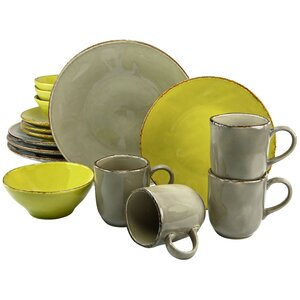 Organic 16 Piece Dinnerware Set with Mug, Service for 4